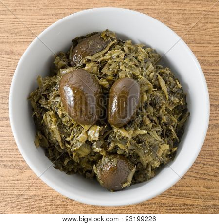 A Bowl Of Delicious Chopped Pickled Cabbage