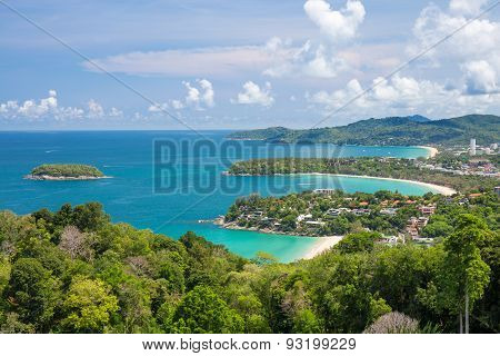 Beautiful Turquoise Ocean Waves With Boats And Coastline From High View Point. Kata And Karon Beache