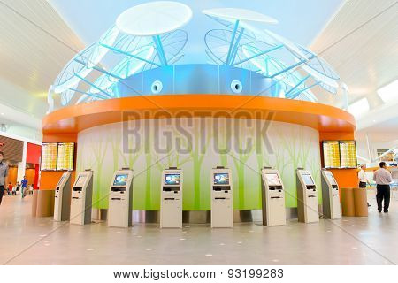 KUALA LUMPUR, MALAYSIA - MAY 06, 2014: airport interior on. Kuala Lumpur International Airport (KLIA) is Malaysia's main international airport and one of the major airports of South East Asia