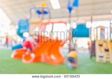 Blur Image Of Children's Playground At Public Park