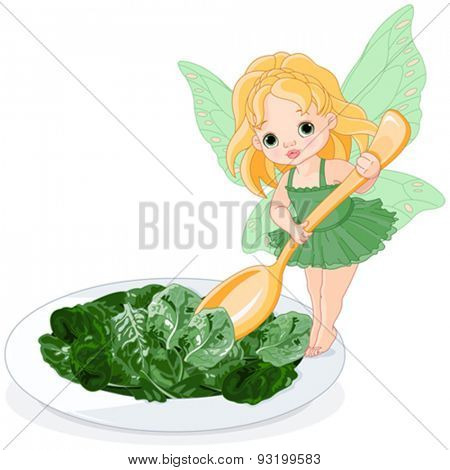 Illustration of Spinach Fairy with plate of spinach salad