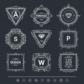 picture of monogram  - Monogram  luxury logo template with flourishes calligraphic elegant ornament elements - JPG