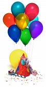 pic of pooper  - party hat balloons noisemaker confetti on white - JPG