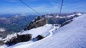 stock photo of tit  - scene of snow mountains titlis and cable car Engelberg Switzerland - JPG