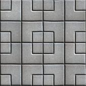 foto of paving  - Concrete Slabs Paving Gray in the Form Square of Different Geometric Shapes - JPG