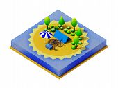 stock photo of motorhome  - Isometric camping on the beach - JPG