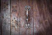 image of door-handle  - door handle on wood background  - JPG