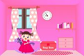 stock photo of horse girl  - Smiling little girl riding rocking horse in her pink room - JPG