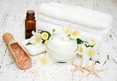 picture of jasmine  - Spa concept with jasmine flowers on a old wooden background