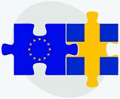 pic of sweden flag  - European Union and Sweden Flags in puzzle isolated on white background - JPG