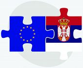 stock photo of serbia  - European Union and Serbia Flags in puzzle isolated on white background - JPG