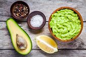Ingredients For Homemade Guacamole: Avocado, Lemon, Salt And Pepper poster