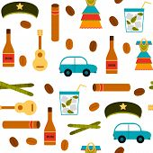 Seamless background with flat colorful objects on Cuba theme poster