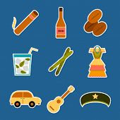 Set of flat colorful stickers on Cuba theme poster