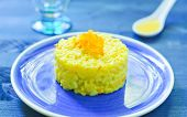 picture of saffron  - Risotto with pumpkin flowers with saffron cream - JPG