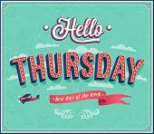 image of thursday  - Hello Thursday creative typographic design - JPG