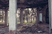 pic of abandoned house  - Interior of an old abandoned soviet rest house room - JPG