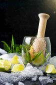 pic of bubble sheet  - Mojito cocktail with fresh limes on a black background - JPG