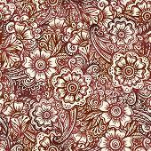 image of mehndi  - Vector seamless pattern in Indian henna mehndi style - JPG