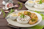 image of baguette  - Grilled camembert with Dijon mustard and herbs baguettes - JPG