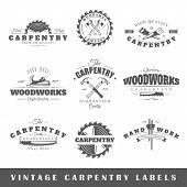 foto of carpentry  - Set of vintage labels carpentry - JPG
