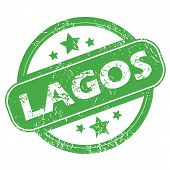image of lagos  - Round green rubber stamp with name Lagos and stars - JPG
