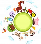 picture of farm animals  - vector illustration of a cute farm card - JPG