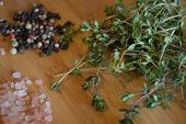 picture of peppercorns  - thyme - JPG
