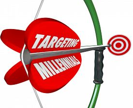 picture of bow arrow  - Targeting Millennials on a red bow and arrow aiming to reach a young Generation Y audience for your company - JPG