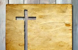 pic of christianity  - Vintage old grungy paper banner with a Christian religious cross over ancient wood background for religion or faith designs - JPG