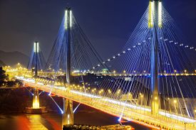pic of hong kong bridge  - Ting Kau bridge at night - JPG