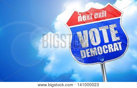 vote democrat, 3D rendering, blue street sign