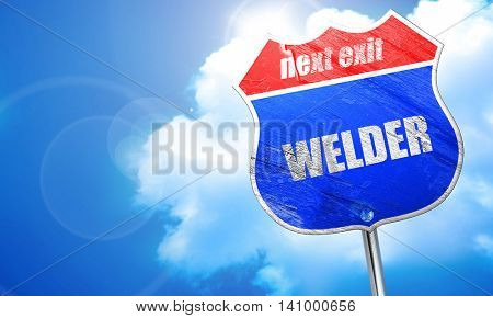 welder, 3D rendering, blue street sign