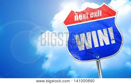 win!, 3D rendering, blue street sign