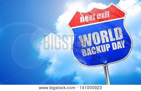 world backup day, 3D rendering, blue street sign
