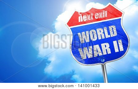 World war 2 background, 3D rendering, blue street sign