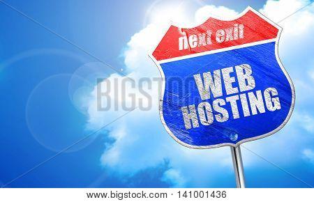 web hosting, 3D rendering, blue street sign