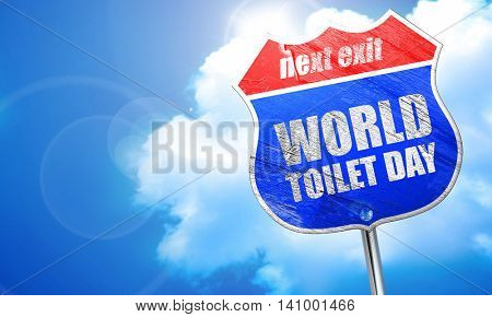 world toilet day, 3D rendering, blue street sign