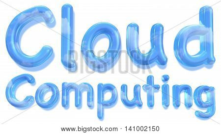 The word cloud computing in a fluid font with a daylight sky and clouds texture isolated on white 3D illustration