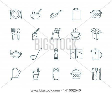 Kitchenware and utensil vector icons set modern line style