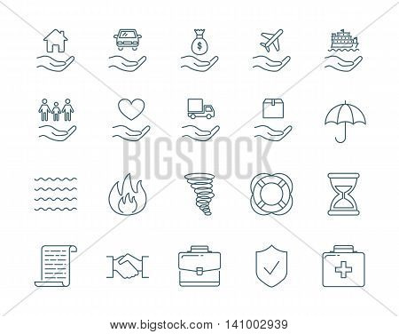 Insurance vector icons set modern line style
