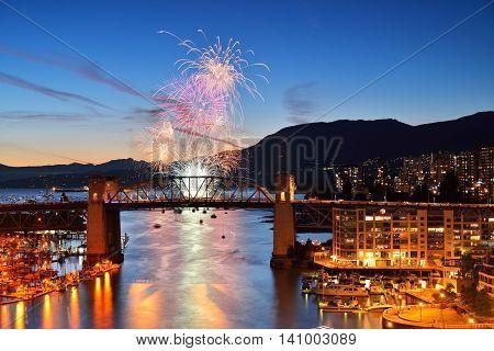 Fireworks Display And Burrard Bridge