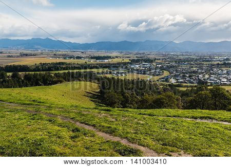 view of Blenheim and Wairau plains from Wither Hills, New Zealand
