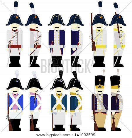 Prussian Army soldiers in uniforms and weapons were used in the 1812 war. The illustration on a white background.