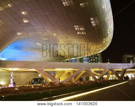 Seoul South Korea - October 27 2015 : Modern architecture of Dongdaemun Design Plaza also called the DDP. The building designed by Zaha Hadid.