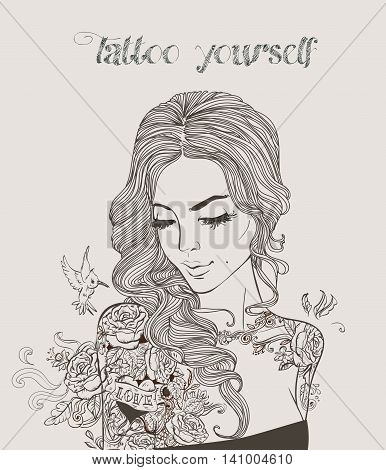 young beautiful woman with tattoo. vector illustration