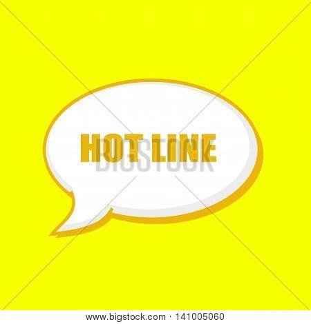 HOT LINE orange wording on Speech bubbles Background Yellow