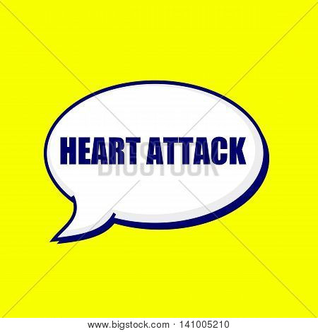 Heart Attack blue-black wording on Speech bubbles Background Yellow