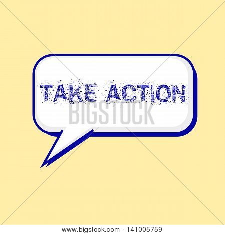 TAKE ACTION blue wording on Speech bubbles Background Yellow-White