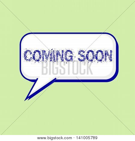 coming soon blue wording on Speech bubbles Background Green-White